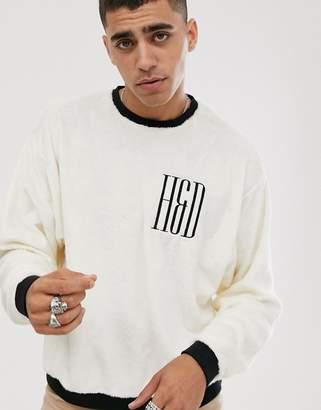 Heart N Dagger teddy sweatshirt in white with logo
