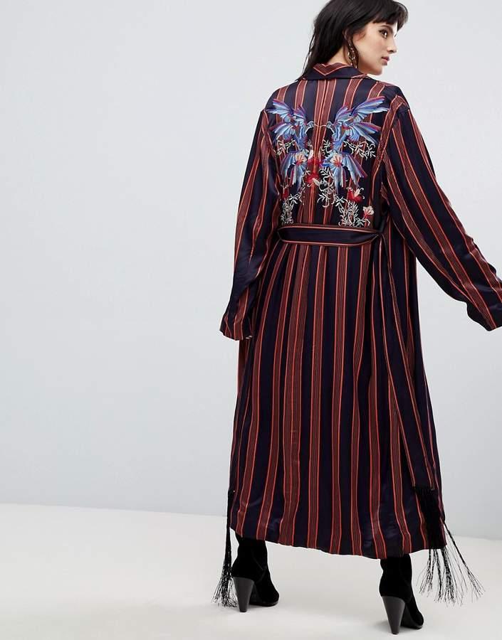 Atrium striped duster jacket