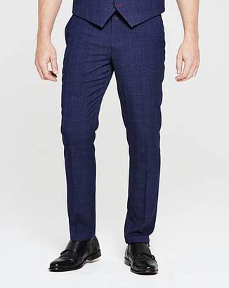 Flintoff By Jacamo Slim Navy Check Suit Trousers 33in