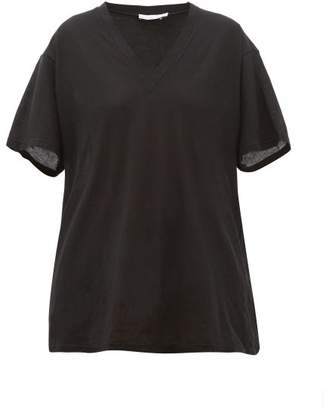 Raey V Neck Cotton Jersey T Shirt - Womens - Black