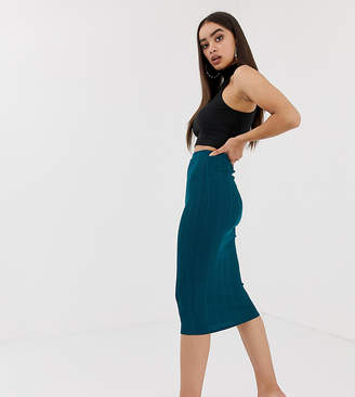 Missguided ribbed bodycon midi skirt in teal