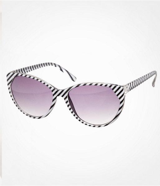 Cat Eye Striped Sunglasses