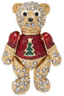 Holiday Lane Gold-Tone Pave Teddy Bear Pin, Created For Macy's