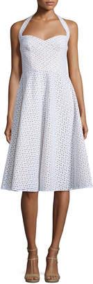 Michael Kors Halter-Neck Eyelet Dress