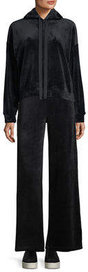 Max Studio Velour Pullover Hoodie Sweatshirt