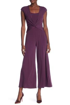 London Times Front Twist Scoop Neck Jumpsuit