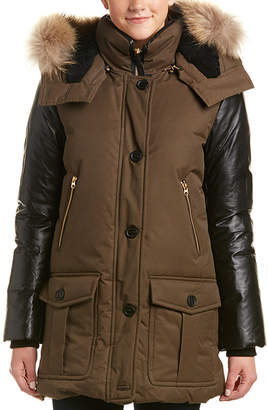 Mackage Cynthia Leather-Trim Down Coat