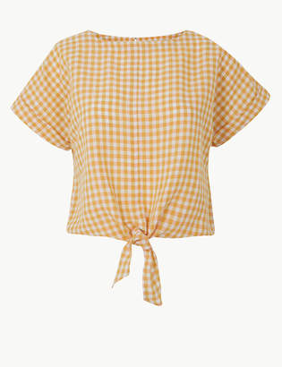 Marks and Spencer Linen Rich Checked Tie Front Blouse