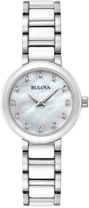 Bulova Women's Diamond Accent White Ceramic and Stainless Steel Bracelet Watch 30mm 98P158 $395 thestylecure.com