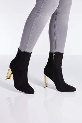 ce7176d7c5 Quiz Black Faux Suede Gold Skinny Heel Ankle Boots