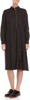 Hache Pinstripe Wool Asymmetrical Shirtdress