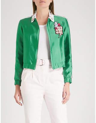Maje Block embroidered-motif satin jacket