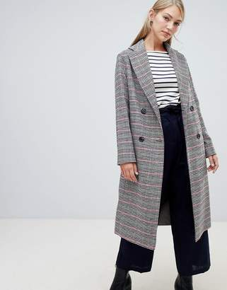 Helene Berman Double Breasted Hounstooth Check Coat in Wool Blend
