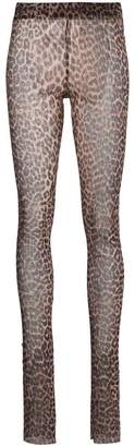 Ganni Leopard print Tilden Sheer Mesh leggings