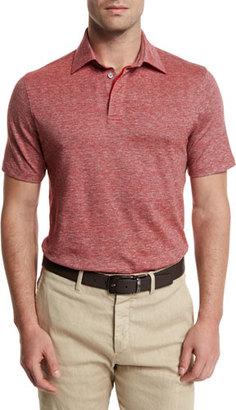Ermenegildo Zegna Melange Striped Short-Sleeve Polo Shirt, Red $275 thestylecure.com