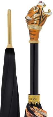Pasotti Black/Animal Print Women's Umbrella w/Siberian Tiger Handle