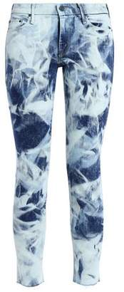 Mother Cropped Bleached Low-Rise Skinny Jeans