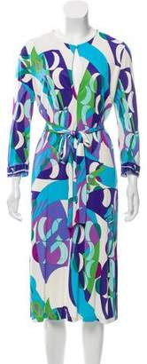 Emilio Pucci Long-Sleeve Belted Dress