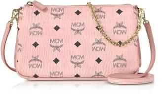 MCM Millie Visetos Soft Pink Medium Zip Crossbody Bag