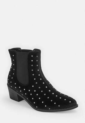 Missguided Black Velvet All Over Stud Western Boots