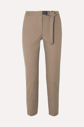 Brunello Cucinelli Belted Cropped Cotton-blend Gabardine Slim-fit Pants - Tan
