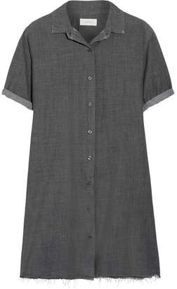 The Great The Bias Distressed Cotton-chambray Shirt Dress - Charcoal