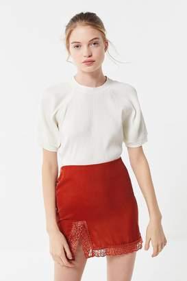 Urban Outfitters Lucy Velvet Lace Trim Mini Slip Skirt