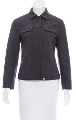 Prada Leather Trimmed Virgin Wool Jacket