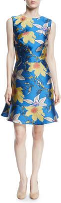 Etro Sleeveless Jewel-Neck Flounce-Hem Lily Jacquard Dress
