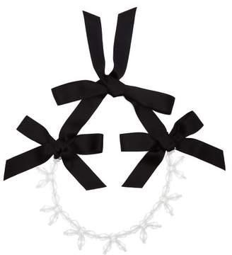 Simone Rocha Crystal Bow Necklace - Womens - Clear