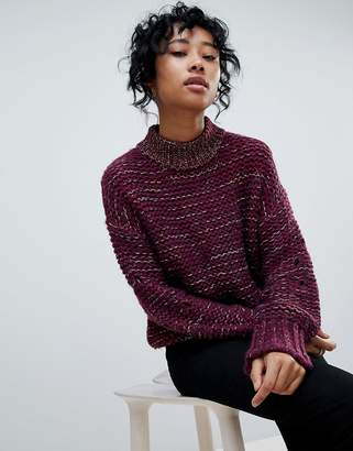 Pieces Mixed Yarn Chuink Roll Neck Jumper