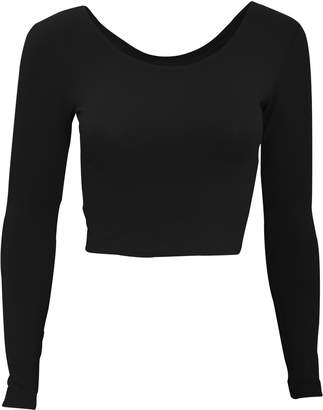 591683288d1a American Apparel Womens Ladies Plain Long Sleeve Cropped T-Shirt (S)