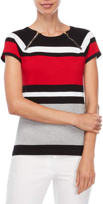 Carmen Marc Valvo Carmen Zipper Stripe Short Sleeve Sweater