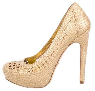 Prada Woven Leather Pumps Gold Woven Leather Pumps