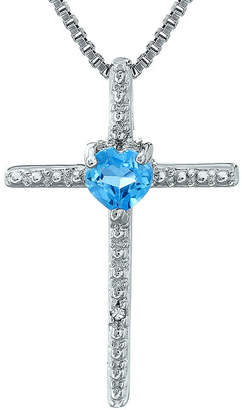 Silver Cross FINE JEWELRY Genuine Blue Topaz and Diamond-Accent Sterling and Heart Pendant Necklace
