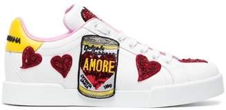 Dolce & Gabbana White Portofino patch leather sneakers