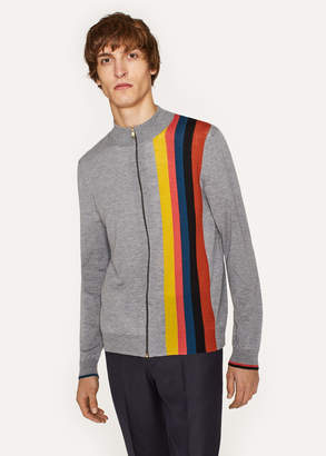 Paul Smith Men's Grey Marl Merino-Wool Zip Cardigan With Large 'Artist Stripe'