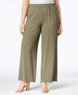 JM Collection Plus Size Textured Wide-Leg Pants