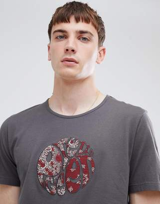 Pretty Green applique logo t-shirt in gray