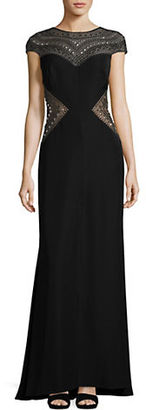Tadashi Shoji Embellished Cap Sleeve Gown $599 thestylecure.com
