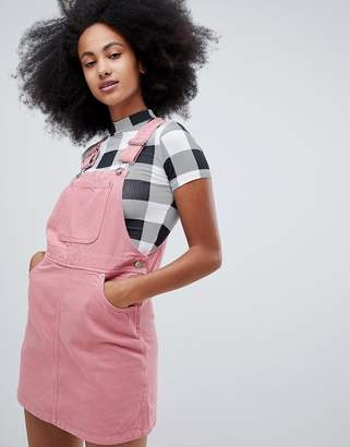 Monki mini denim dungaree dress in pink