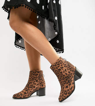 New Look Wide Fit Leopard Print Heeled Boot
