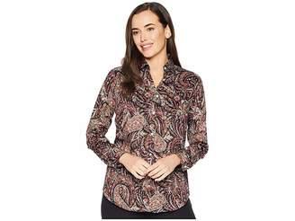 Chaps Non Iron Cotton Sateen Long Sleeve Shirt Women's Clothing