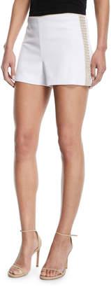 Alice + Olivia Sherri Embellished Back-Zip Shorts