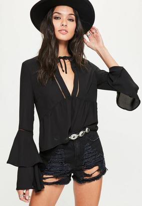Black Ladder Trim Flare Sleeve Blouse $45 thestylecure.com