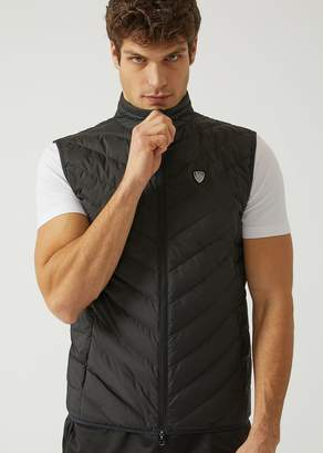 Emporio Armani Ea7 Sleeveless Down Jacket In Technical Fabric