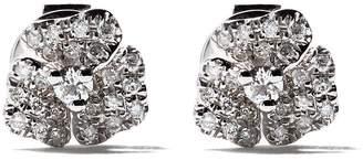 As 29 AS29 18kt white gold Roselia Flower diamond small earrings