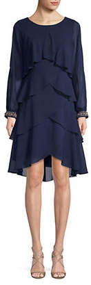 IGNITE EVENING Tiered Ruffle High-Low Dress