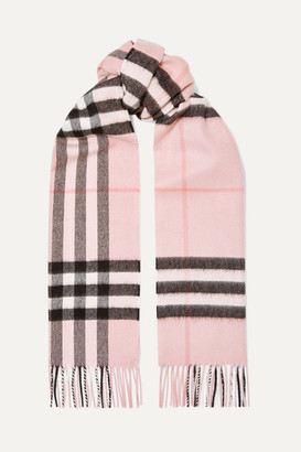 Burberry Fringed Checked Cashmere-twill Scarf - Pink