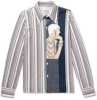 Maison Margiela Slim-Fit Printed Striped Piqué Shirt